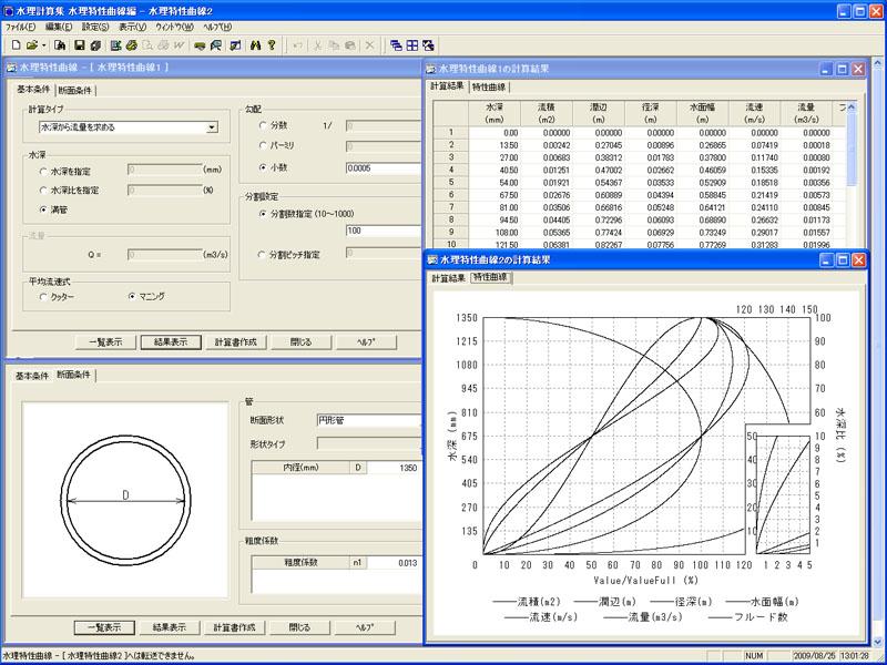 Civil Pocket 水理計算集 水理特性曲線編